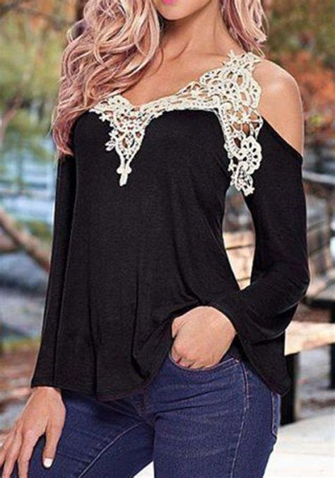 black patchwork lace v neck slim dacron blouse blouses tops black patchwork lace v neck sexy t shirt lifestyle