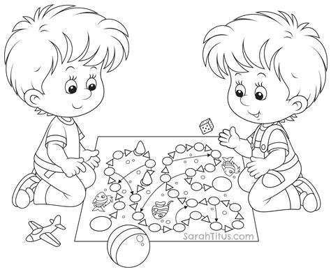 free coloring pages of kids playing outside