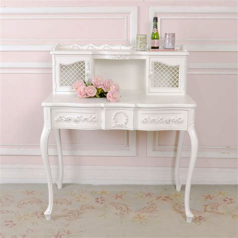 shabby cottage chic white french vintage mesh writing desk office rose gorgeous haute juice