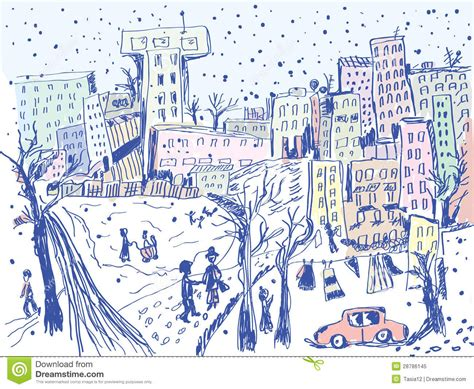 city street in winter sketch royalty free stock photo