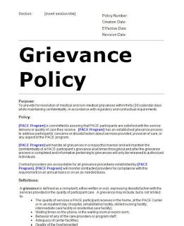 grievance procedure template grievance and dispute policy sle template editable doc