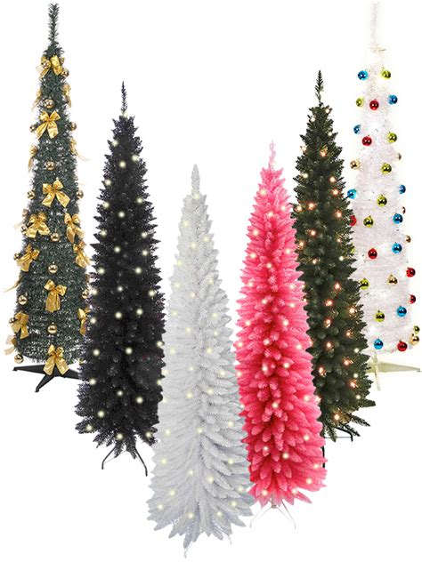 pop up christmas trees with lights pre lit slim tree 6ft leds pop up decoration festive artificial ebay