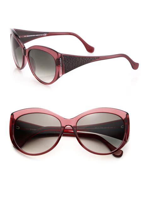 lyst balenciaga textured arms 58mm sunglasses in purple
