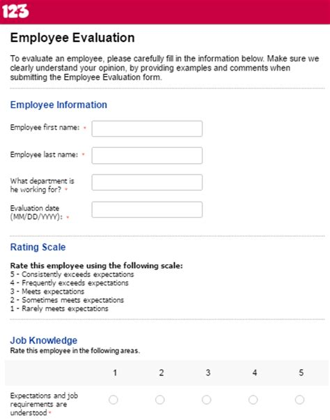 employee evaluation form template effectively evaluate performance with employee evaluation