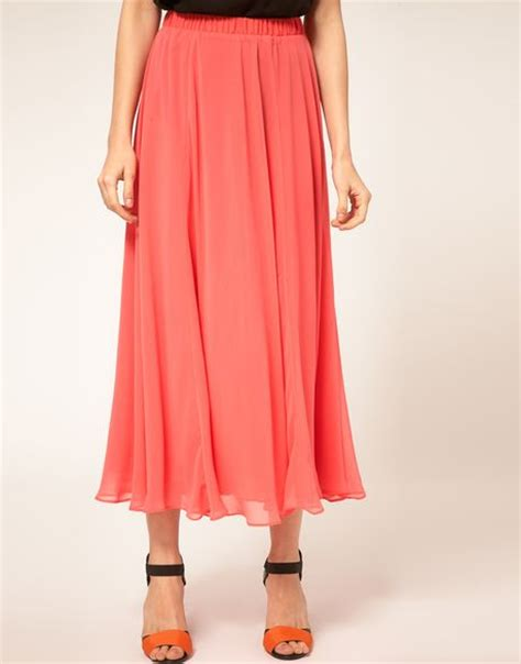 circle maxi skirt with zip detail in pink coral lyst