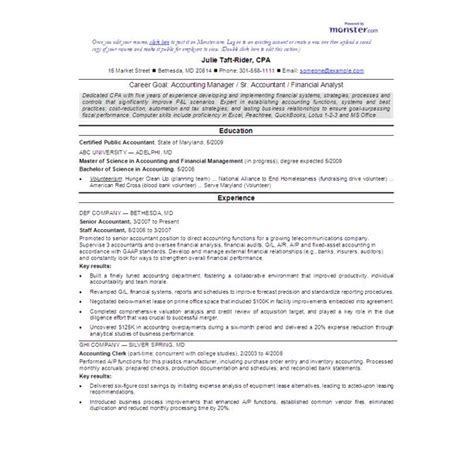 Cpa Resume by Accounting Resume Sles What To Include On Your Resume
