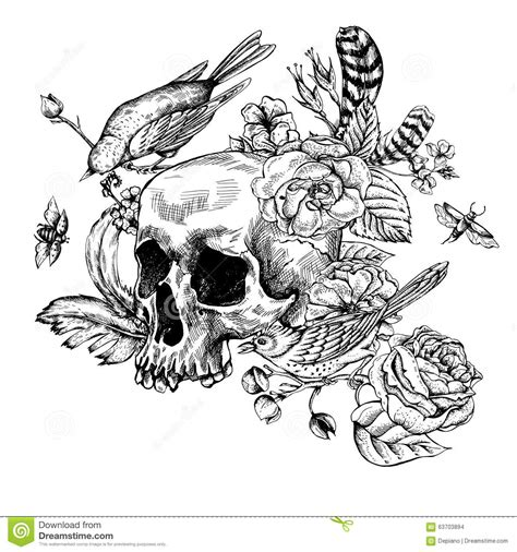 skull rose and bird tattoo skull with flowers roses birds and feathers stock vector