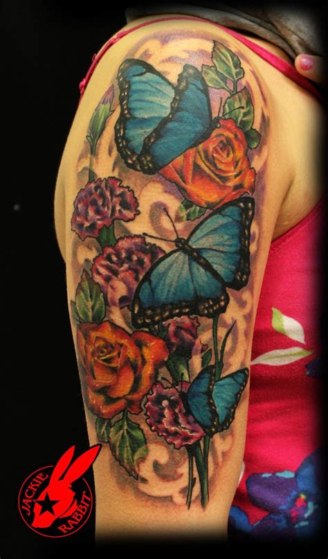 flower and tribal tattoo blue butterfly flower by jackie rabbit i