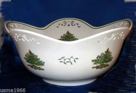 spode christmas tree pierced punch bowl centerpiece