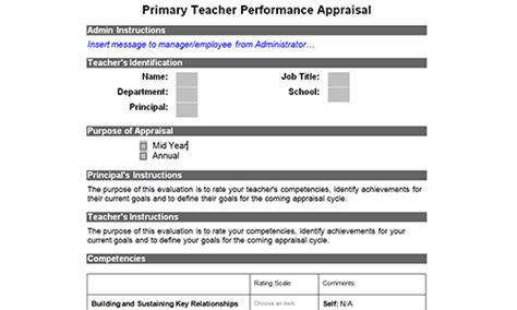 evaluation of teachers performance template free evaluation form sles toolkit