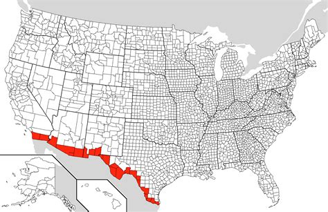 map mexico border mexico us border counties mapsof net