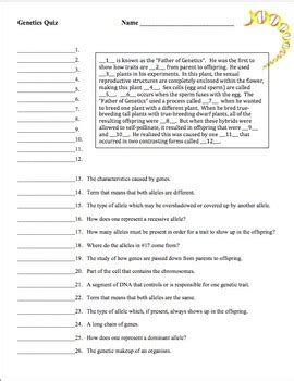 Genetics Vocabulary Worksheet