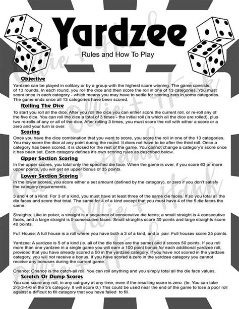 Printable Yard Yahtzee Rules | image result for printable yahtzee rules pdf yardzee