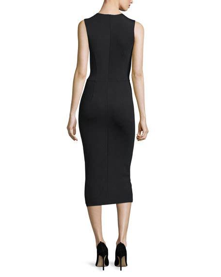 the row asca sleeveless midi sheath dress in blue lyst the row dassah sleeveless midi dress black