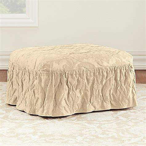 sure fit ottoman covers sure fit 174 matelasse damask ottoman cover bed bath beyond