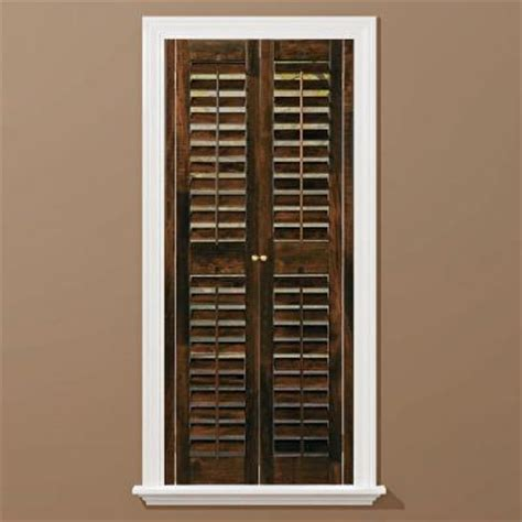 Homebasics Plantation Walnut Real Wood Interior Shutters Interior Window Shutters Home Depot 2