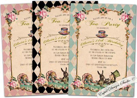 alice in wonderland birthday party invitations birthday