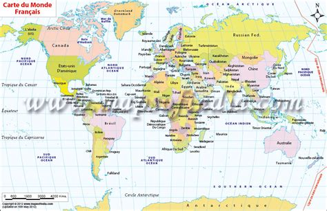 printable world map in french world map in french carte du monde