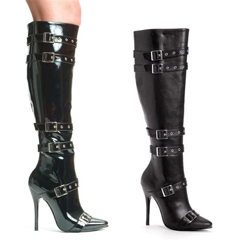5 quot knee high stiletto heel boots with buckles 10 ebay