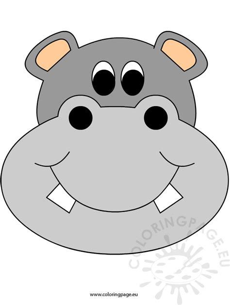 Printable Hippo Mask | hippo coloring page