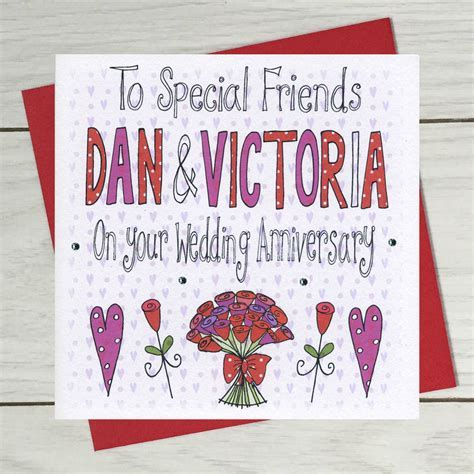 personalised special friends wedding anniversary card by
