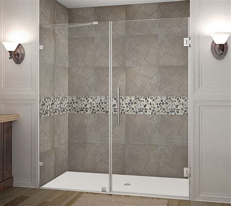 Frameless Hinged Glass Shower Doors Aston Nautis 72 Inch X 72 Inch Completely Frameless Hinged Shower Door In Chrome The Home
