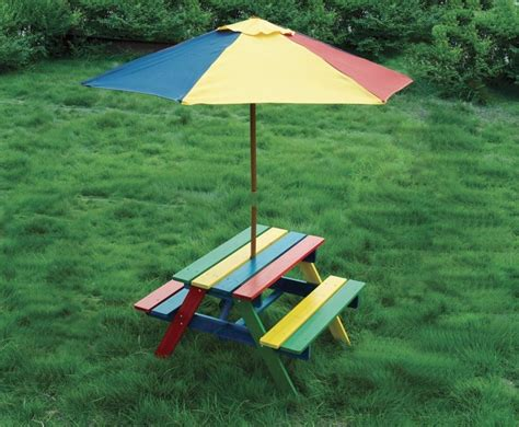 kids wooden picnic bench children s wooden rainbow garden picnic table bench