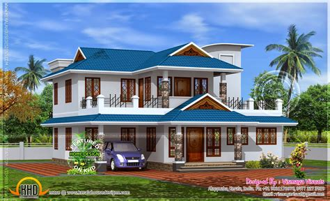 1900 sq feet kerala model sloping roof house house 2350 sq feet home model in kerala kerala home design