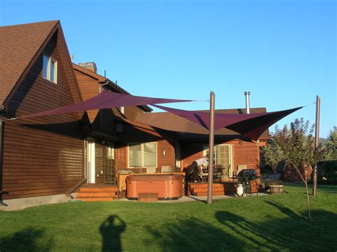 shade sail ideas patio industrial with addition awning