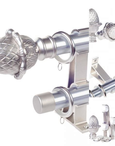 brushed silver curtain rods pineapple finial silver nickel brushed aluminum double