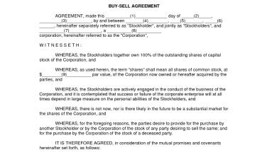 Simple Buy Sell Agreement Free Printable Documents Buyout Agreement Template Free