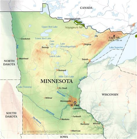 physical map  minnesota