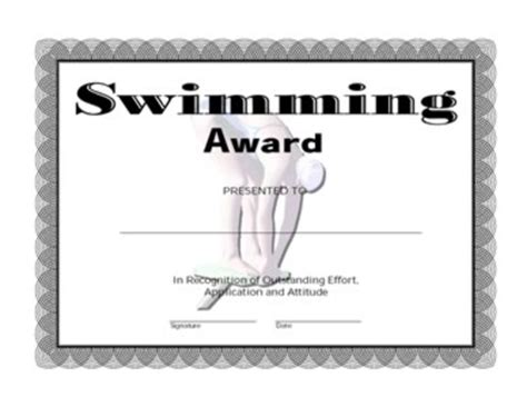 swimming award certificate template swimming award certificate one success certificates