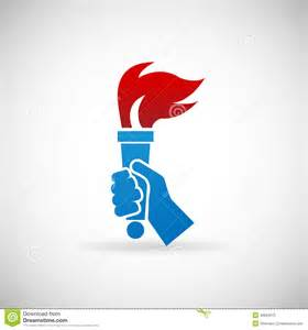 victory flame symbol hand hold fire torch icon design