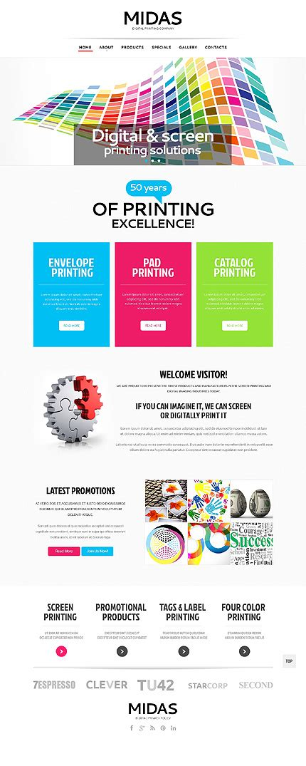 white print shop website template by sawyer print shop