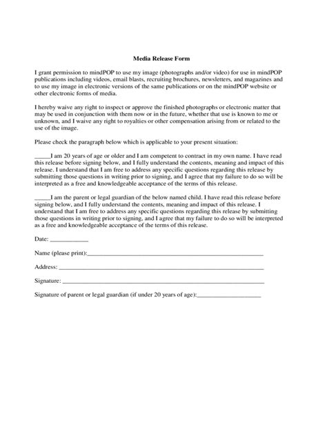 Media Release Form 2 Free Templates In Pdf Word Excel Download Standard Media Release Form Template