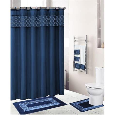 shower curtain and towel sets com navy blue 18 piece bathroom set fabric shower