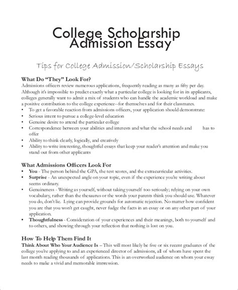 Scholarship Essay Format by College Essay Exle 7 Sles In Word Pdf