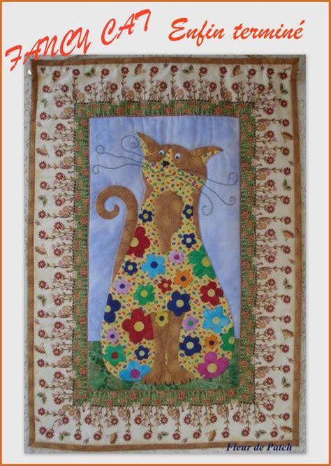 Patchwork And Applique - patchwork et applique fancy cat fleur de patch