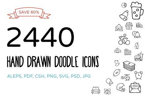 2440 hand drawn doodle icons bundle icons creative market