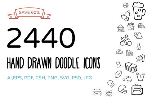2440 Hand Drawn Doodle Icons Bundle ~ Icons ~ Creative Market