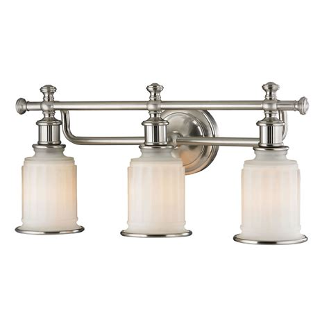 brushed nickel bathroom lighting fixtures elk 52002 3 acadia brushed nickel 3 light vanity lighting