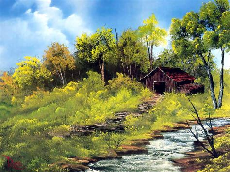 bob ross painting cabin bob ross cabinwithstreamandtrees 171 riverviews artspace