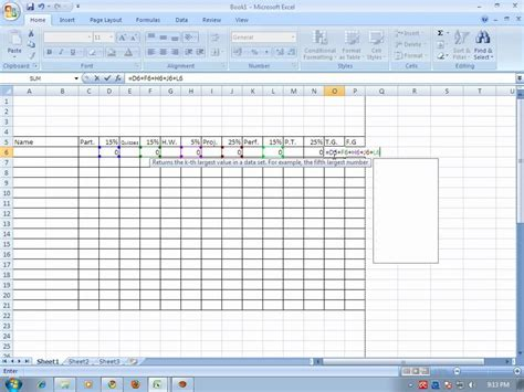 How To Make A Microsoft Excel Spreadsheet by How To Make Grading Sheet Using Ms Excel 2007 Wmv