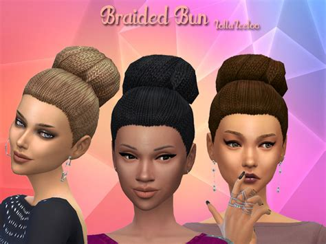 sims 4 bun braids braided bun by lollaleeloo