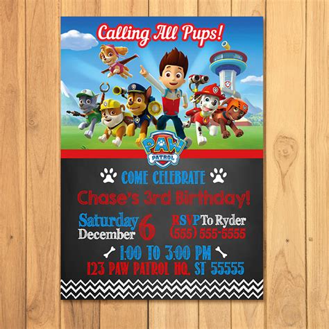 printable birthday invitations paw patrol free paw patrol printables