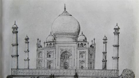 Sketches Of 7 Wonders In World by Taj Mahal Pencil Sketch Pencil Drawing