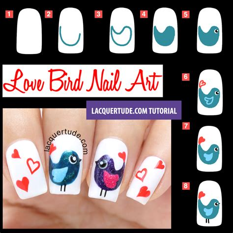 tutorial nail art love tutorial valentine s day love birds nail art