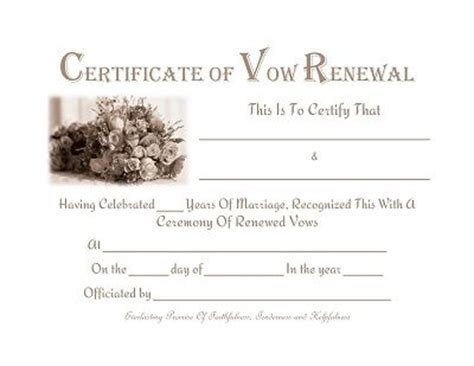 vow template free printable vow renewal certificate prayers quotes