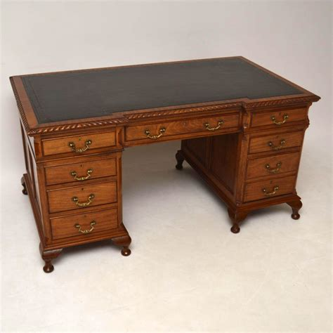 Large Antique Mahogany Leather Top Pedestal Desk Antique Mahogany Desk